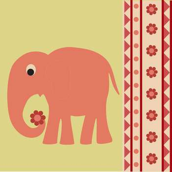 colorful vector background with pink elephant and flowers - vector gratuit #126496
