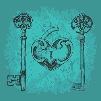 Vector illustration of old key to heart on green background - Free vector #126506