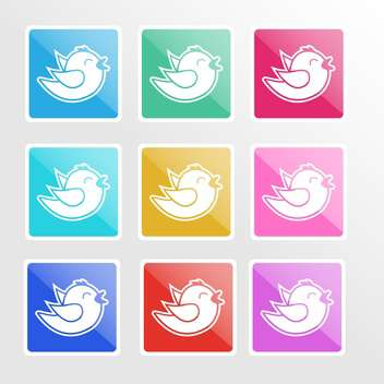 Vector set of colorful icons with birds - vector #126516 gratis
