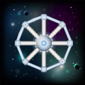Vector illustration of space station on dark sky background - Free vector #126536