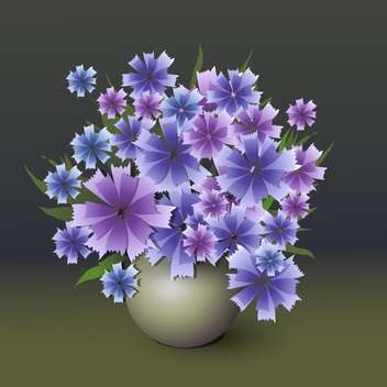 colorful illustration of blue cornflowers bouquet in vase - vector gratuit #126556