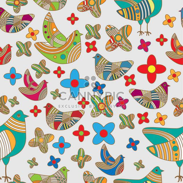 Vector colorful background with drawing birds and flowers - Free vector #126566