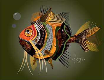 Vector illustration of colorful abstract fish on dark green background - бесплатный vector #126626