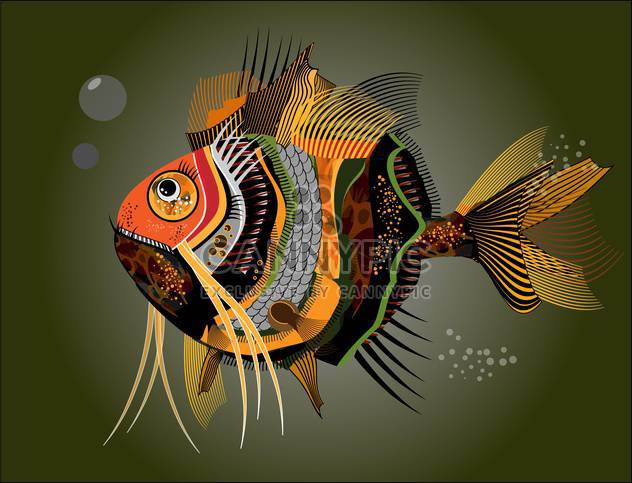 Vector illustration of colorful abstract fish on dark green background - Free vector #126626