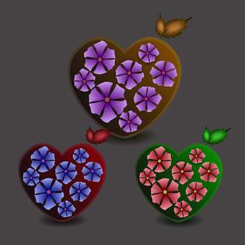 Vector illustration of hearts with colorful flowers on grey background - Free vector #126656