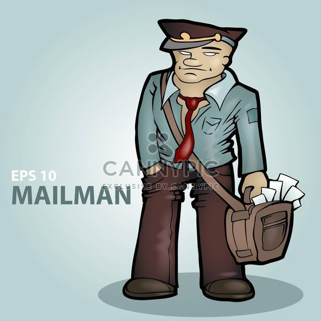 Vector illustration of cartoon mailman on blue background - Free vector #126716