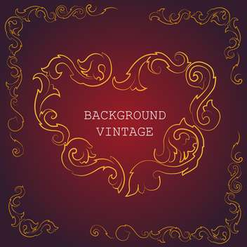 Vector vintage background wit golden floral pattern on red background - vector gratuit #126756