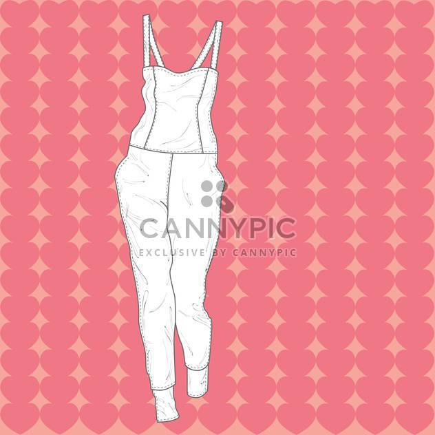Vector illustration of fashion overall on pink background - Free vector #126776