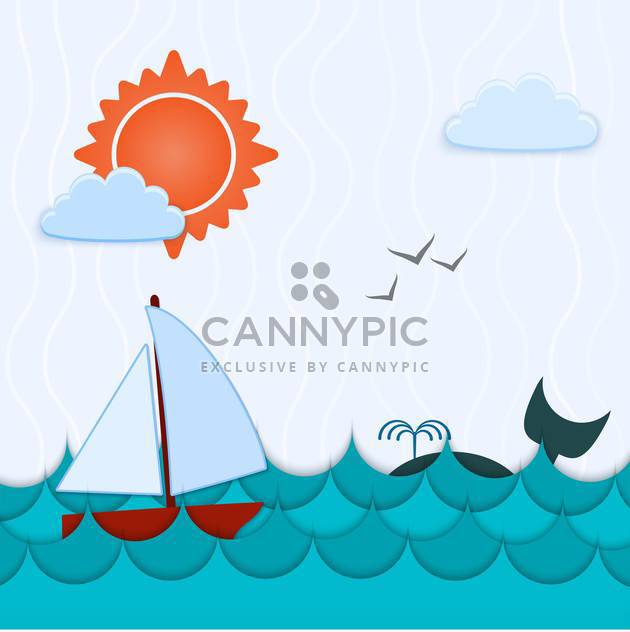 Vector blue color background with whale and boat - Free vector #126786