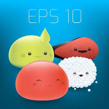Vector set of cute sushi faces on blue background - vector gratuit #126866