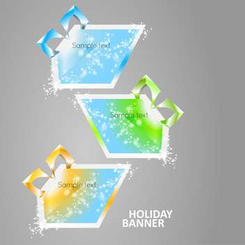 vector illustration of bright multicolored glowing banners on grey background - Free vector #126916
