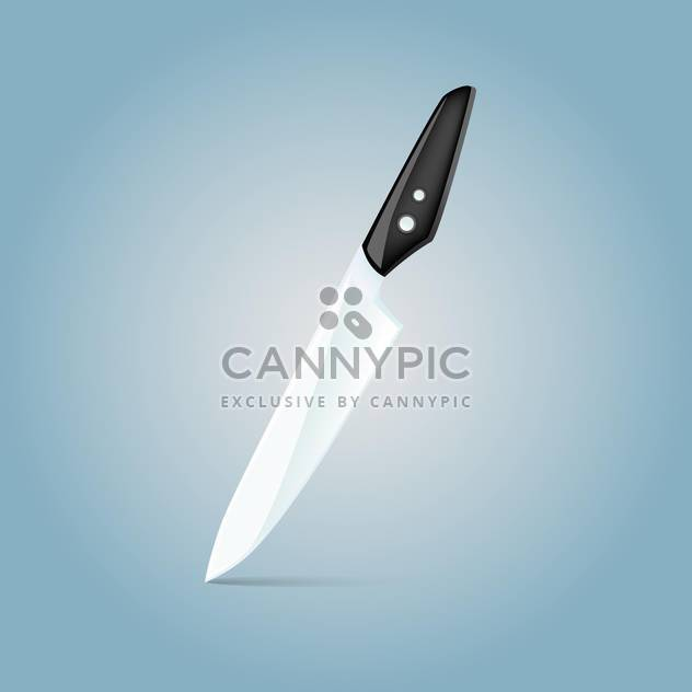 Vector illustration of metal knife on blue background - Free vector #126926