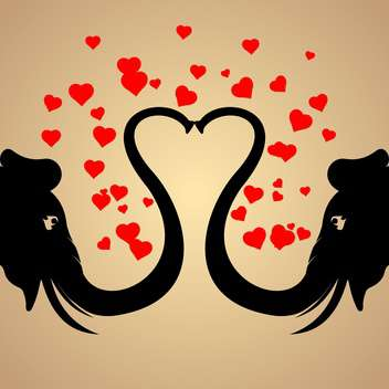 Vector background with black elephants in love with red hearts - Free vector #126936