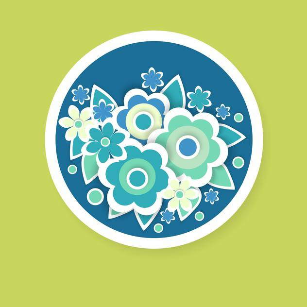 Vector floral background with beautiful flowers in blue circle - vector gratuit #126946