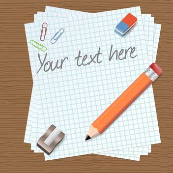 vector illustration of paper with text place and pencil on brown background - vector #126976 gratis