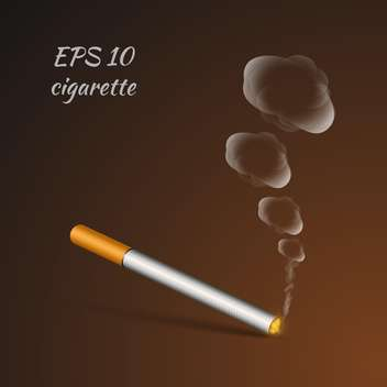 vector illustration of smoldering cigarette on brown background - vector gratuit #127076