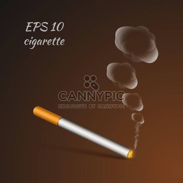 vector illustration of smoldering cigarette on brown background - Free vector #127076