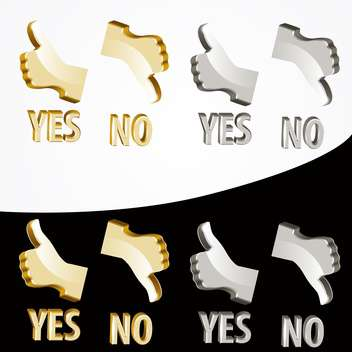 Vector gold yes and no signs on black and white background - vector gratuit #127086