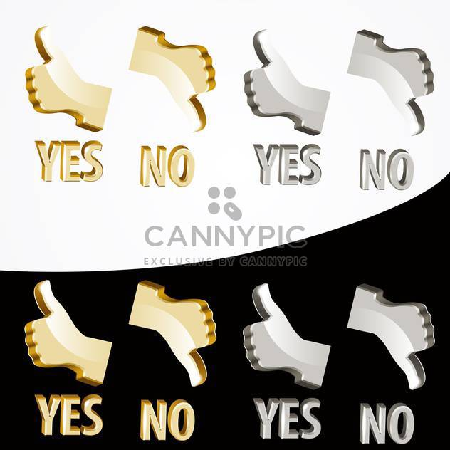Vector gold yes and no signs on black and white background - Free vector #127086
