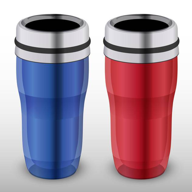 Vector illustration of two colorful thermo-cups on white background - Free vector #127096