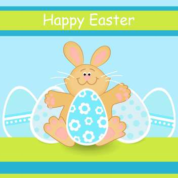 Happy Easter colorful card with easter bunny and eggs - Free vector #127186
