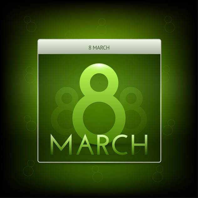 Vector illustration of March 8 green button - vector gratuit #127196