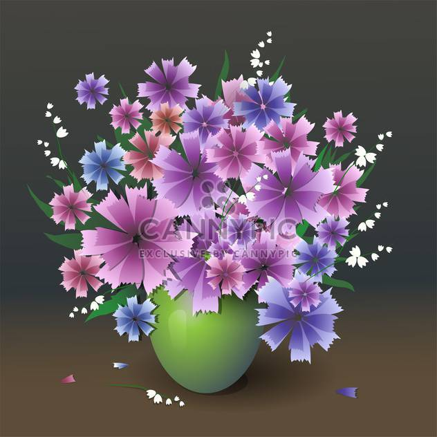 Vector illustration of purple flowers bouquet in vase - Kostenloses vector #127206