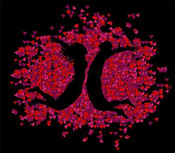 pink hearts with jumping couple shadow on black background - vector gratuit #127226