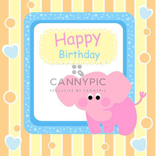 Happy birthday card with pink elephant - Free vector #127266