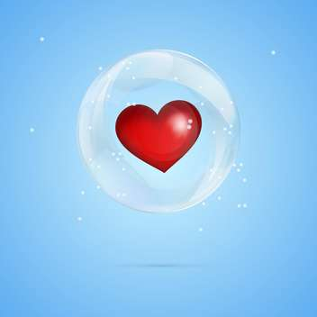 Vector illustration of red heart in bubble on blue background - vector gratuit #127376