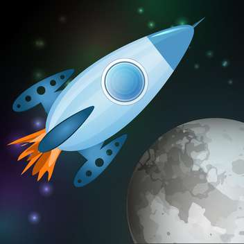 Vector illustration of spaceship flying into galaxy - vector gratuit #127396