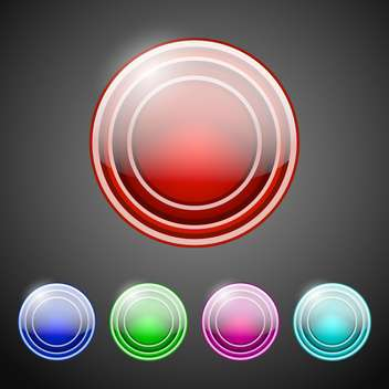 vector collection of round buttons on dark background - Free vector #127446