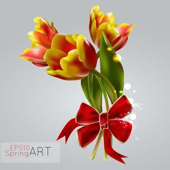 spring background with colorful tulips for greeting card - Free vector #127536