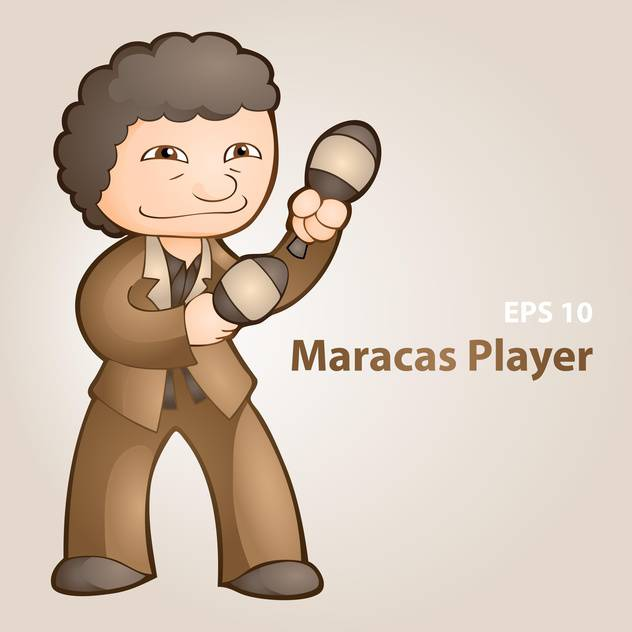 Vector illustration of maracas player on grey background and text place - бесплатный vector #127546