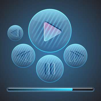 Vector round media player buttons on blue background - vector #127566 gratis