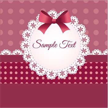 Vintage card design for greeting card with bow and text place - vector gratuit #127626