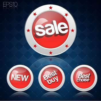Vector set of round shaped buttons for sale on blue background - vector gratuit #127646