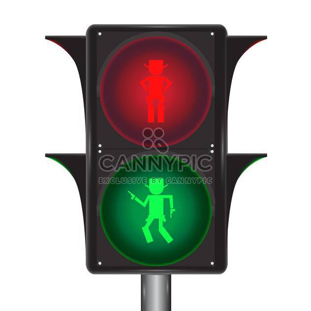 Vector of traffic light with cowboy on white background - Free vector #127706