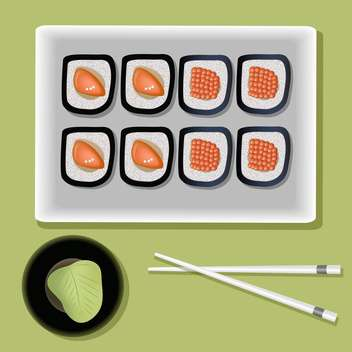 vector sushi on plate and chopsticks - vector gratuit #127726