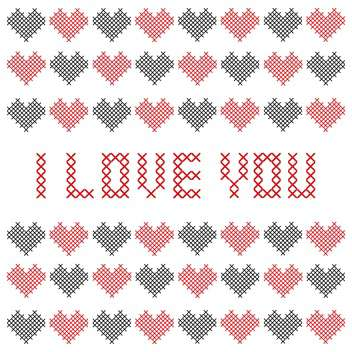 Embroidered Valentine card with hearts - vector gratuit #127736