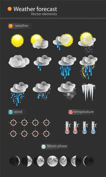Weather icon set on black background - vector #127796 gratis