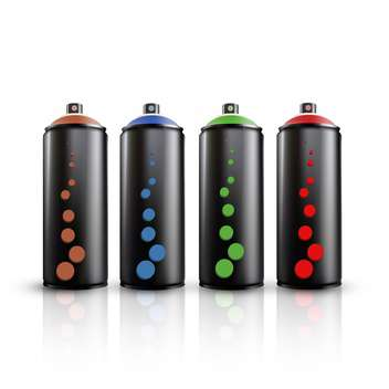 vector illustration of colorful spray tins on white background - vector gratuit #127826