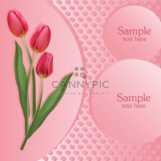 Bunch of pink tulips with text place - Free vector #127866