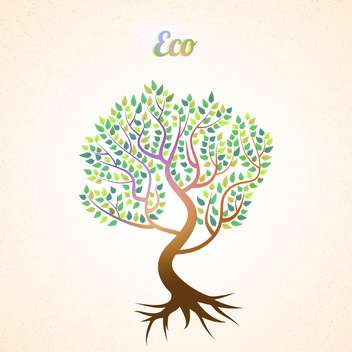 Vector abstract tree with green leaves on pink background - Free vector #127946