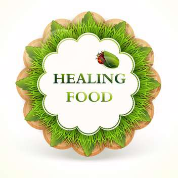 round shaped green eco label with healing food on white background - vector #127956 gratis