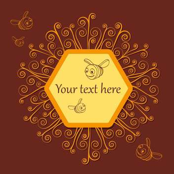 cute bees and honeycombs on brown background with text place - vector #127976 gratis