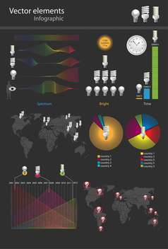 vector illustration of colorful infographics on black background - бесплатный vector #128066