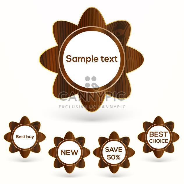 Vector set with wooden badges, isolated on white background - Free vector #128126