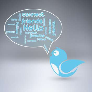 Blue bird with speech bubble, vector illustration - Free vector #128176
