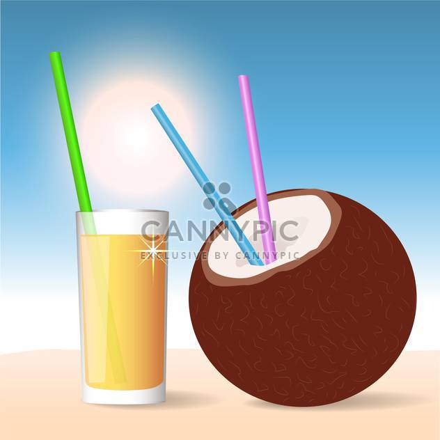 Coconut cocktail, vector Illustration on summer background - Free vector #128206